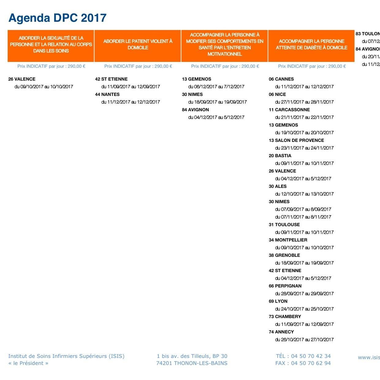 Programmation DPC 2017 ISIS Infirmiers